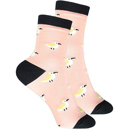 cosey - bunte Socken im Möwe Design orange (33 – 40) - 4 Paar