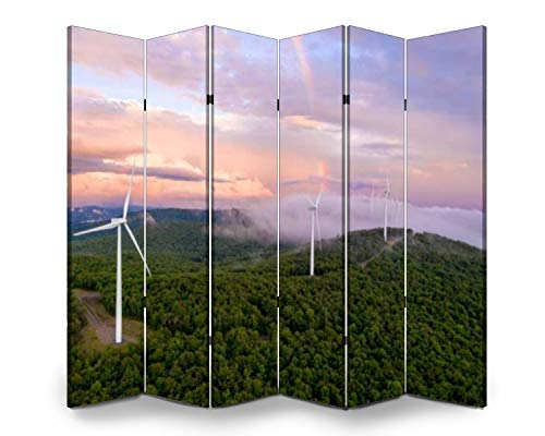 Wood Screen Room Divider wind turbines on mountain ridge at sunset with rainbow pink clouds Folding Screen Canvas Privacy Partition Panels Dual-Sided Wall Divider Indoor Display Shelves 6 Panels