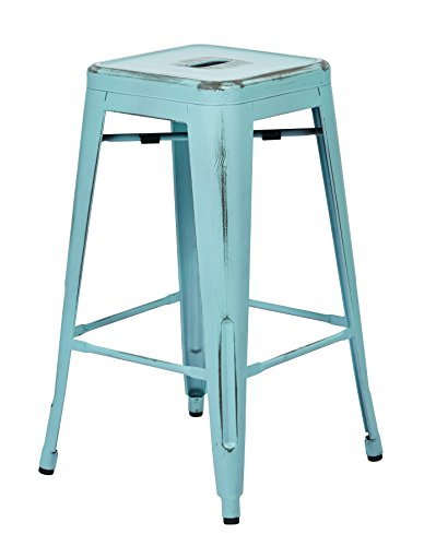 OSP Home Furnishings Bristow Antique Metal Barstool, 26-Inch, Antique Sky Blue, 4-pack