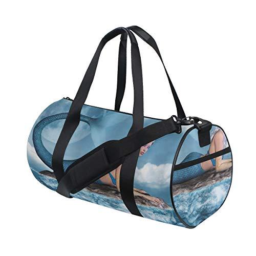 ZOMOY Sporttasche,Meerjungfrau Grafik Kunstdruck von Mädchen auf Rock Sea mythischen Charakter,Neue Bedruckte Eimer Sporttasche Fitness Taschen Reisetasche Gepäck Leinwand Handtasche