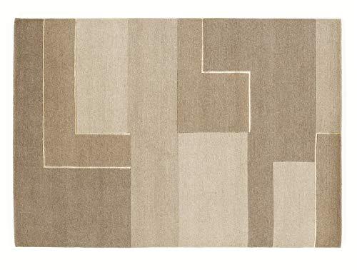 CONGRESS NEODYM echter original handgeknüpfter Nepal Teppich in creme-braun, Größe: 70x140 cm