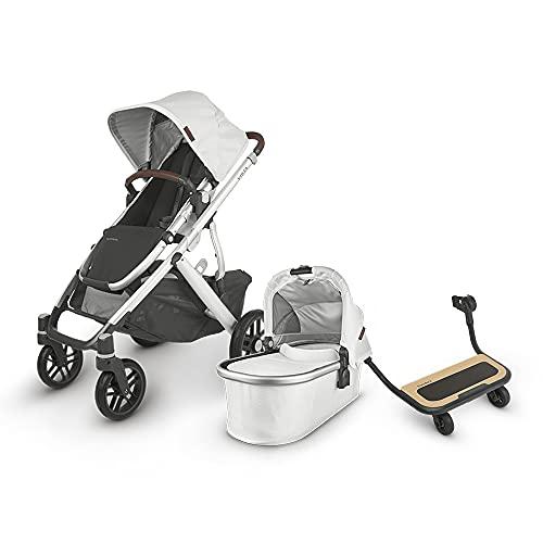 UPPAbaby Vista V2 Stroller - Bryce (White Marl/Silver/Chestnut Leather) + Piggyback for Vista & Vista V2