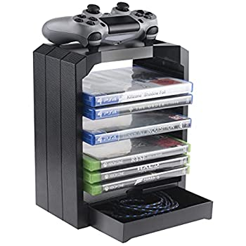 Geekhome - Universal Games Storage Tower for up to 10 games - Xbox One PS4 PS3 Blu Rays  PS4///