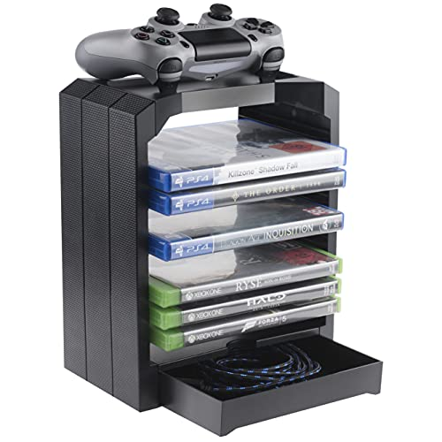 Geekhome - Universal Games Storage Tower for up to 10 games - Xbox One, PS4, PS3, Blu Rays (PS4///)