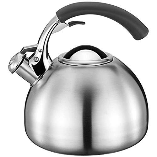 Hervidor con silbato - Hervidor de camping Hervidor con silbato de acero inoxidable Tetera espesada de pequeña capacidad de 2,5 l Adecuado para cualquier estufa (Color: Metálico, Tamaño: 2,5 L)