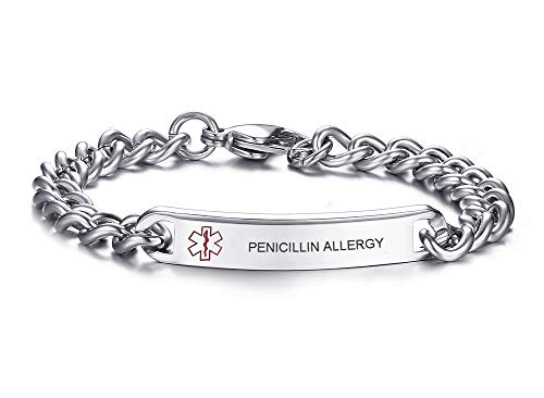 VNOX 8MM Stainless Steel PENICILLIN ALLERGY ID Tag Medical Alert Emergency Bracelet for Unisex,8.0'