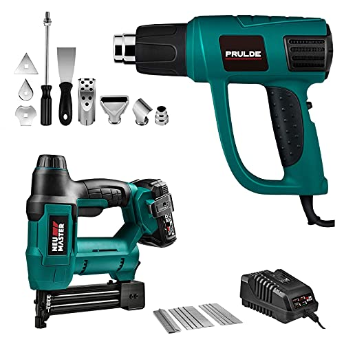 Cordless Brad Nailer (2.0Ah Battery and Charger Included) and Variable Temperature Heat Gun with LCD Digital Display and 6 Nozzles Attachments
