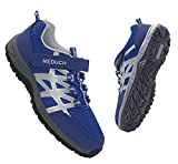 MEDUCH Boys Girls Shoes Kids Hiking Shoe Breathable Athletic Running Shoes for School Trail Walking Blue/Silver