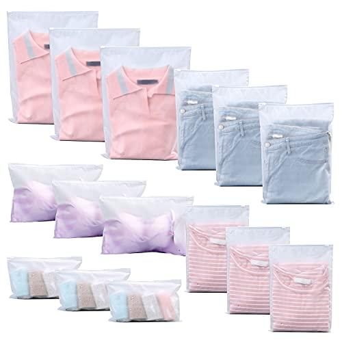NITAIUN 15 Piezas Organizadores de Embalaje de Viaje, Bolsas de Almacenamiento de Ropa Bolsa Ziplock Reutilizable Bolsa de Transparente Esmeriladas Plástico para Ropa, Bragas, Zapatos, Cosméticos