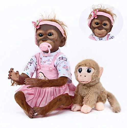 ZIYIUI Realista Reborn Doll Mono 52 cm 21 Pulgadas Bebé Reborn Mono Hecho Mano Pintura Detallada Muñecas Recién Nacida Muñeca Artística Niños Juguete para Regalo