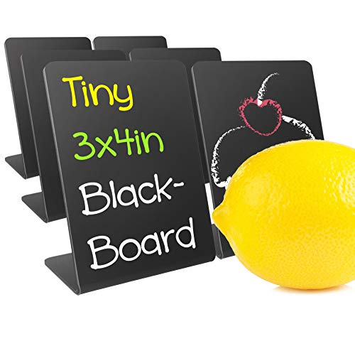 Food Safe Acrylic Tiny Chalkboard Signs for Food Tent, Buffet, Party Table Tent, Wedding and Birthday Decoration. Works for Normal Chalks & Liquid Chalk Markers. Set of 6. Tiny-Tall (3x4in)