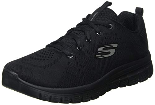 Skechers Damen GRACEFUL-GET CONNECTED-12615 Sneaker, Schwarz (Black Mesh/Trim Bbk), 38 EU
