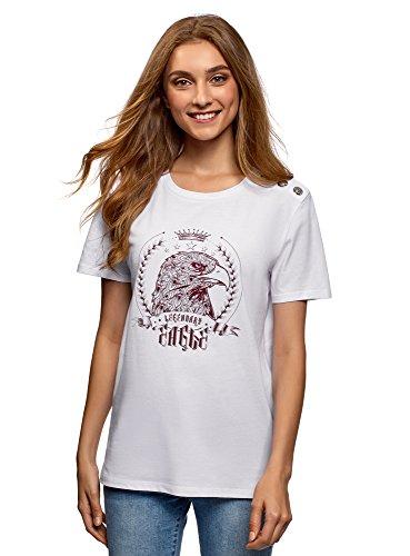 oodji Ultra Mujer Camiseta Recta con Botones Decorativos y Pedrería, Blanco, ES 42 / L