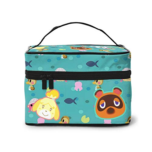 Ani-Mal Cros-Sing Multi-Purpose Makeup Bag Handbag Classic Storage Bag Cute Japan Characters Personality Makeup Suitcas For Unisex Train Case Gifts Travel With Adjustable Dividers Carrying Case