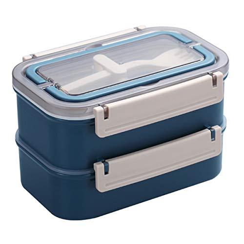 Lunchbox - Brotdose mit Fächern Praktische Bento Box mit Edelstahlbehälter und Griff. Zweischichtige Lunchbox, Frühstücksbox, Picknickausflug, Handgepäck mit Löffel, Gabel (Nordic Denim)