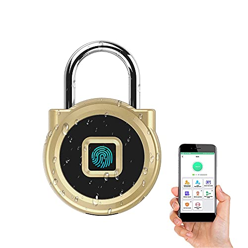 eLinkSmart Gym Locker Digital Padlock, Fingerprint & Phone App Unlock, Remotely Authorized, IP65 Waterproof, Security Keyless Smart Lock for House Door, Swimming Center, Backpack, Travel Luggage, Gold