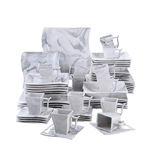 MALACASA, Serie Flora, 60 TLG. Marmor Porzellan Geschirrset Kombiservice Tafelservice mit je 12 Kaffeetassen, 12 Untertassen, 12 Dessertteller, 12 Suppenteller und 12 Flachteller
