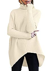 Image of ANRABESS Womens Turtleneck Long Batwing Sleeve Asymmetric Hem Casual Pullover Sweater Knit Tops: Bestviewsreviews