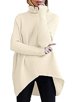 ANRABESS Womens Turtleneck Ribbed Knit Pullover Sweaters Batwing Long Sleeve Asymmetric Hem Casual Ladies Sweater Top A87kaqi-M Apricot