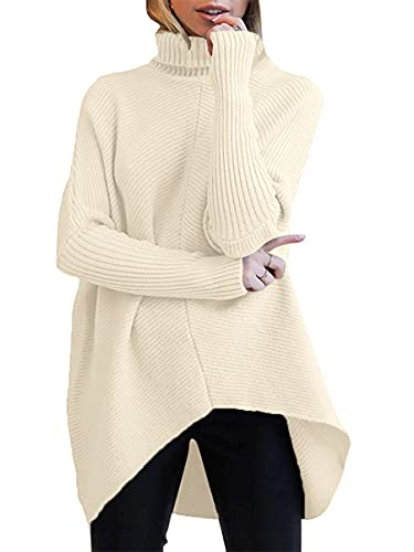 ANRABESS Womens Turtleneck Long Batwing Sleeve Asymmetric Hem Casual Pullover Sweater Knit Tops