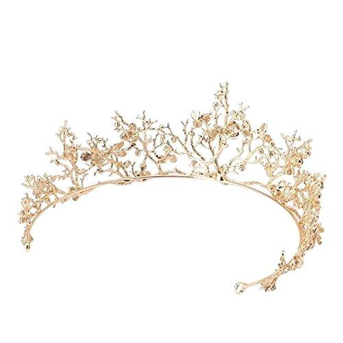 Pu Ran Diadème de mariage avec libellule baroque et branches en strass Doré