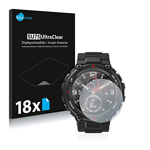 Savvies 18x Schutzfolie kompatibel mit Huami Amazfit T-Rex Bildschirmschutz-Folie Ultra-transparent