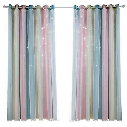 WERTAZ Cortinas opacas con diseño de estrellas, doble capa, huecas, a rayas, cortinas opacas para habitación de los niños, salón