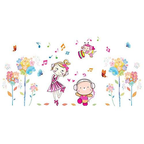 Winhappyhome Flower Girl Musique Mur Art Stickers pour Les Enfants Chambre Salon Nursery Café Fond Amovible DéCor Bricolage Stickers
