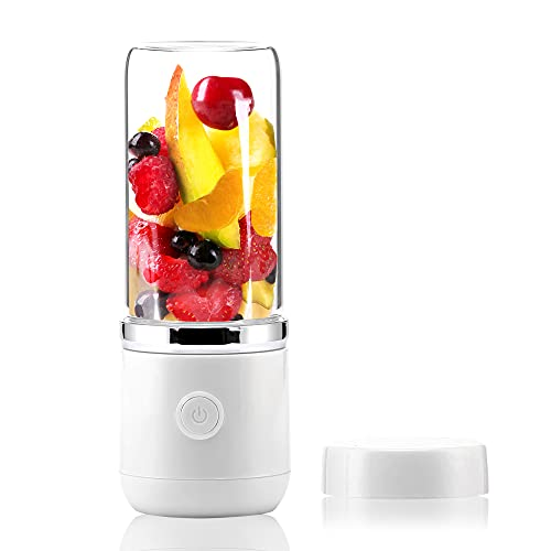 AVIO Portable Blender for Shakes and Smoothies   Quick USB Rechargeable   4 Leaf Stainless Steel Blade   13 Oz Durable High Boron Glass Jar   Handheld Personal Travel Blender with Travel Jar and Lid