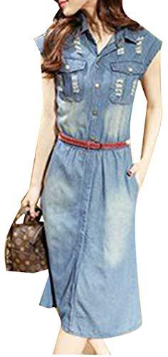 OMUUTR Damen Jeanskleider Blusenkleid Maxikleid Freizeitkleid Kurzarm Umlegekragen Schlank Lange Jeans Kleider Blau Sommer mit Gürtel XXLarge