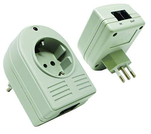 Electraline 48503 Presa Italiana Filtrata con Protezione Surge e 2 Prese Telefoniche Protette, Bianco