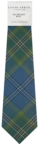 Gents Neck Tie All Ireland Blue Irish Tartan Lightweight Scottish Clan Tie
