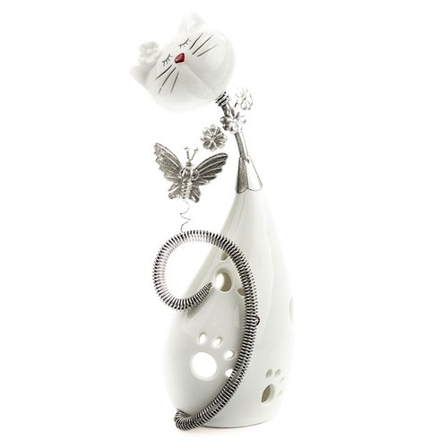 Windlicht Dekofigur Katze mit Schmetterling, Keramik/Metall, Kerzenhalter