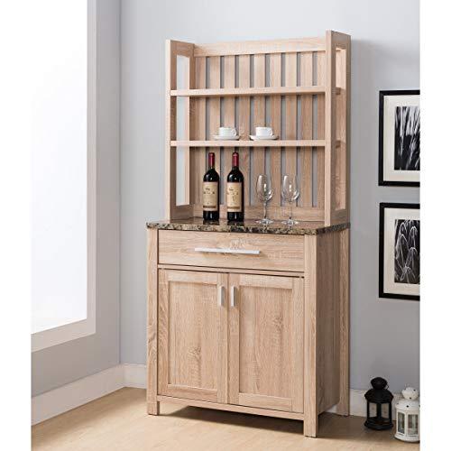 Farmhouse Brown 2-Door Cabinet Baker's Rack Traditional Veneer Wood