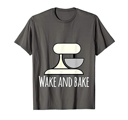 Wake and bake, crazy baking lady T shirt mixing bowl