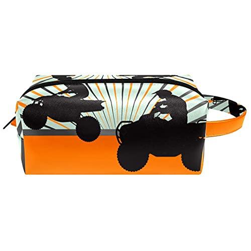 Kosmetiktasche Damen Federmäppchen Stiftetasch Schminktasche Kulturtasche für Handtasche Makeup Tasche Waschtasche Quad-Silhouette 21x8x9 cm