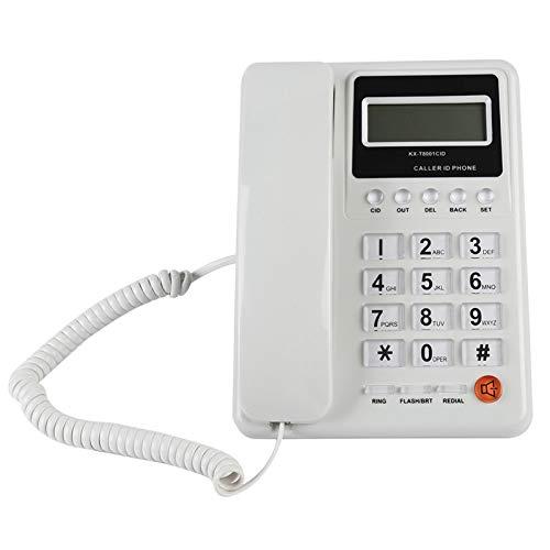 Teléfono de escritorio con cable, teléfono fijo con cable con sistema dual DTMF / FSK, pantalla en tiempo real, función de rellamada, tonos de llamada opcionales, teléfono fijo para el hogar, hotel