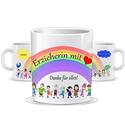 Tasse für die Erzieherin mit Herz/Personalisierbar mit dem Namen des Kindes, der Gruppe und der Erzieherin/Tassen Farbe wählbar/Erzieherin oder Erzieher