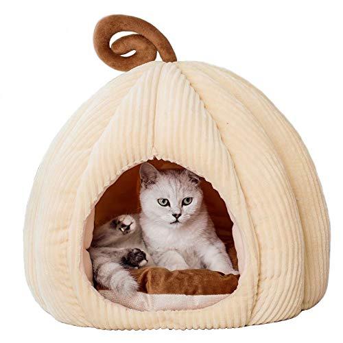 YunNasi Grotta per Gatti/Cani di Piccola Taglia Cuccia per Gattini Casa per Gatti Tenda per Animali con Grotta per Conigli con Cuscino Rimovibile e Lavabile (47x37cm, Bianco)