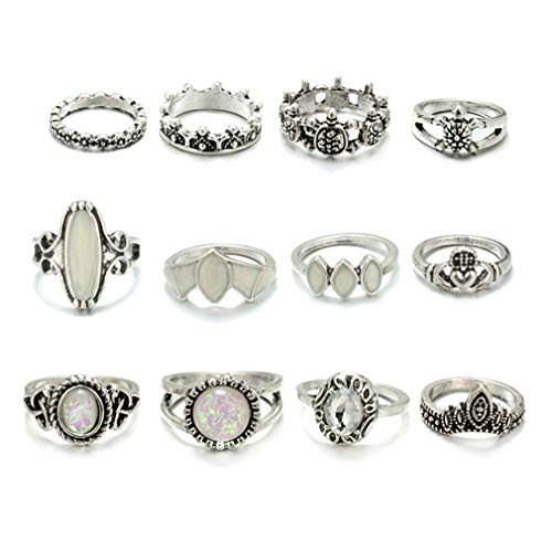 LJSLYJ 12 Pcs Vintage Big Opal Stone Knuckle Shield Rings Set for Women Bohemian Rings Jewelry