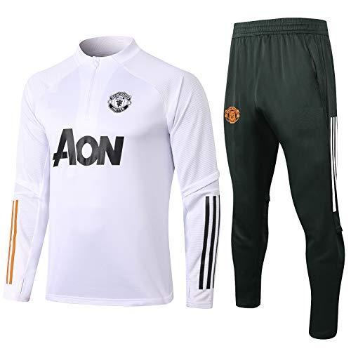 DDZY 2021 Manchester United Fußballtraining Jersey High Neck Langarm-Sweatshirt Set,Weiß,S