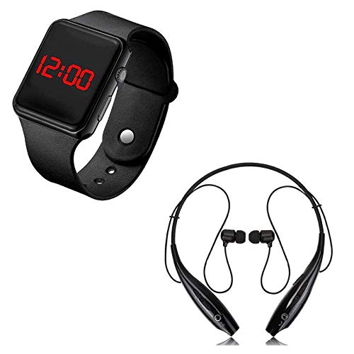 TeqBee Digital Black LED Sports Watch for Boys,Girls and Kids with HBS730 Neckband Wireless Bluetooth Waterproof Headset, Portable, Handsfree Compatible for All Smartphones