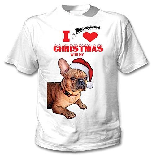 teesquare1st I Love Christmas with My French Bulldog Ginger Santa Camiseta...