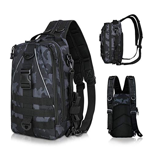 LUXHMOX Fishing Tackle Backpack Multi-Functional Outdoor Fishing Water-Resistant Tackle Storage Bag with Rod Holder Shoulder Backpack for Trout Fishing Outdoor Sports Camping Hiking(New Black Camo)