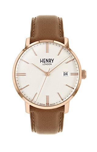 Henry London Reloj Analógico para Unisex Adultos de Cuarzo con Correa en Cuero HL40-S-0350