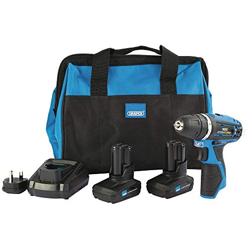 Draper 99722 Storm Force 10.8V Rotary Drill Kit (+2 x 4Ah Batteries, Charger and Bag), 10.8 V