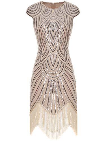 Fairy Couple 1920er-Flapper-Kleid mit Paillettenverzierung und Quastensaum FD20S002 Gr. L, Ein Champagner