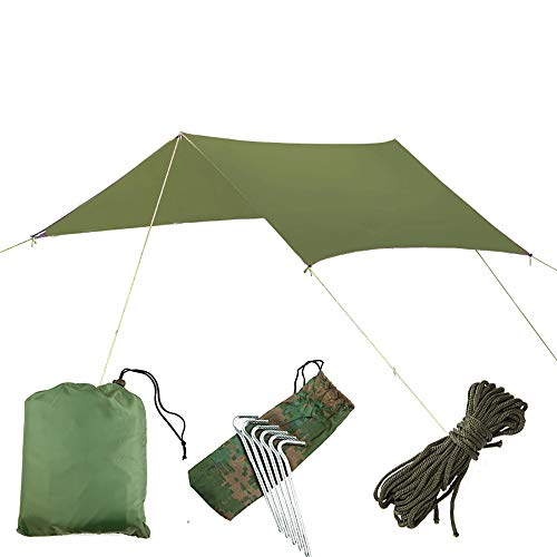 HKIASQ Tent Tarp Hammock 300 * 300cm Lightweight Waterproof Hex Camping Tarp, Anti UV Sun Shelter,Green