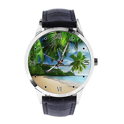 Tropical Landscape Palm Trees Sunshine Beach Coast Sea Sky Blue Custom Wrist Watch Unisex Analogue Quartz Watch with Leather Strap Watches for Girls Boys Wristwatch