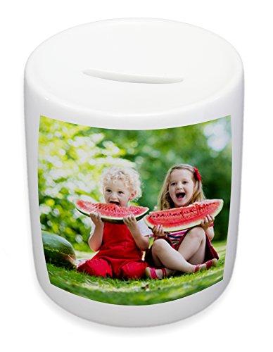 Spardose mit eigenem Motiv selbst gestalten, hochwertige weiße Spardose aus Porzellan mit eigenem Logo, Foto, Motiv als persönliche Geschenkidee
